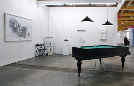 stand Galerie Mazzoli Berlin @ ArtBrussels 2014 works by: D. Piccolo, C. Boursier-Mougenot, Pe Lang and M. Spanghero